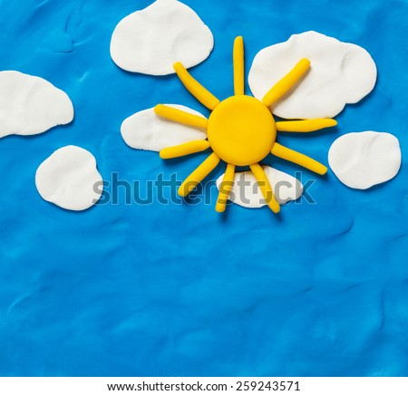 Sky and the sun. Made from plasticine - stock photo