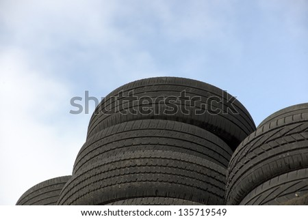 Sky and tires - stock photo