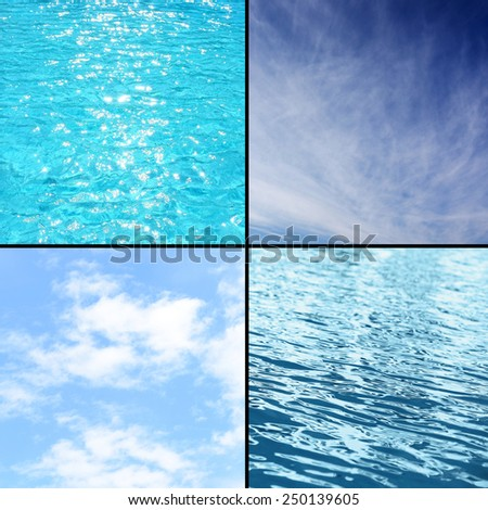 Sky and water collage - stock photo