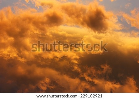 Sky at sunset cloudscape background.  - stock photo