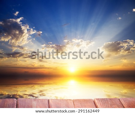 Sky background and sea on sunset. Nature composition.