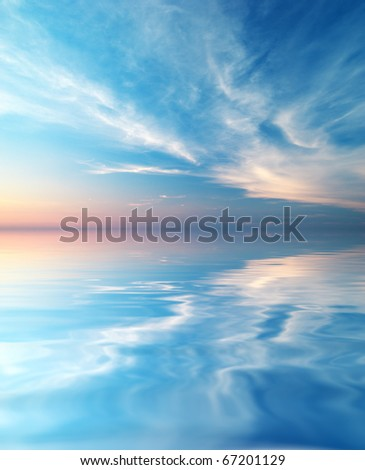 Sky background and water reflection. Element of design. - stock photo