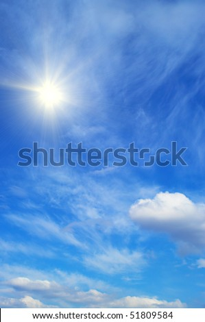 Sky background in summer day. Nice blue nature background.