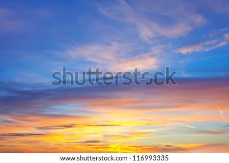 Sky background on sunrise. Nature composition - stock photo