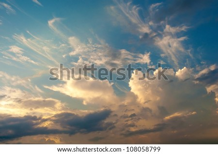 Sky background on sunset. - stock photo