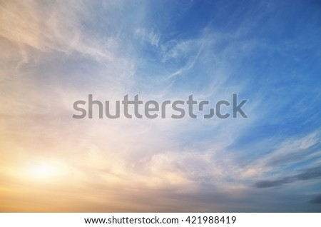 Sky background on sunset. Nature composition. - stock photo