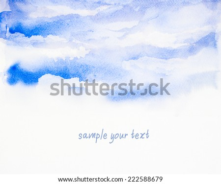 sky background ' watercolor painting - stock photo