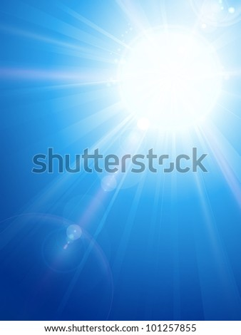 Sky background with a magnificent sun burst with lens flare. Space for your text.  Vector version available. - stock photo