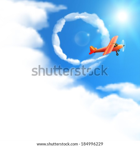 Sky Background with Red Airplane. Raster version.