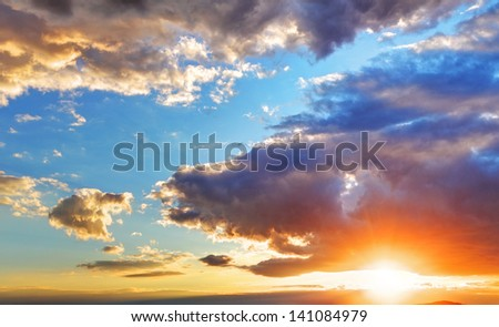 Sky background with sun - stock photo