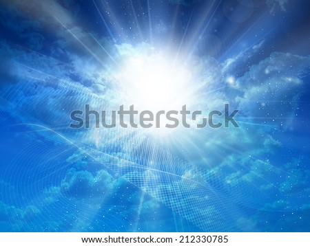 Sky blue background with sun rays
