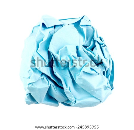 Sky blue colored paper crumpled into a ball - stock photo