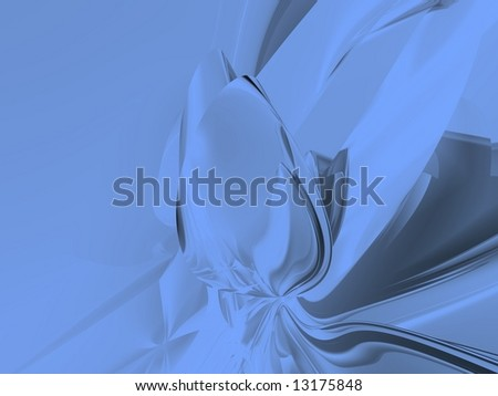 Sky Blue Metallic Rose Abstract