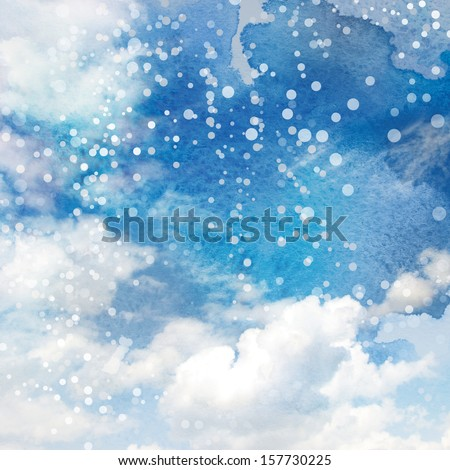 Sky blue watercolor background  - stock photo