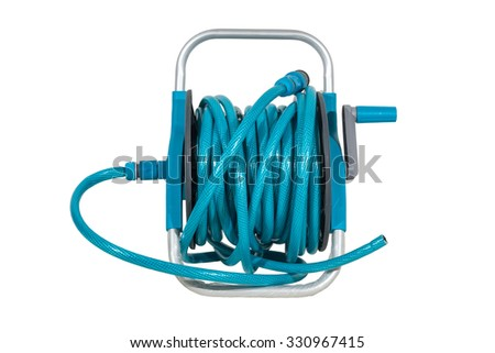 sky blue watering garden hose on the spool isolated on white background. - stock photo