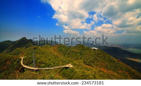 Sky bridge Malaysia, Cable car gondolas. Landkawi island - stock photo