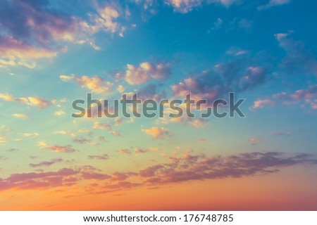 Sky, Bright Blue, Orange And Yellow Colors Sunset. Instant Photo, Toned Image - stock photo