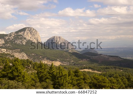 Sky, clouds and mountains near Antalya (Turkey) - stock photo