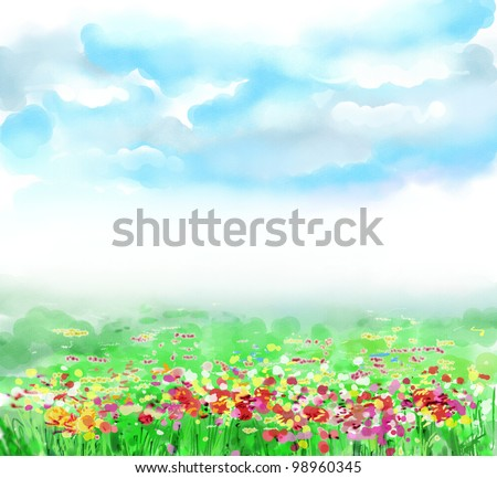 Sky, clouds, huge green field, flower, spring, summer,landscape. Drawing is executed in equipment a water color - stock photo