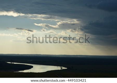 sky clouds sunset dawn white beauty landscape - stock photo