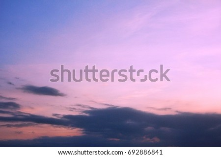 Sky color blue and dark clouds  beautiful sunset