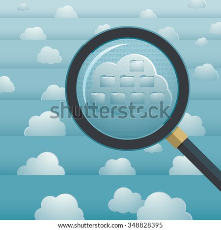 sky computing concept, with stratified sky, clouds and a loupe showing folder structure - stock photo