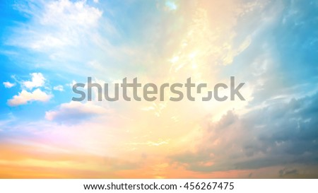 Sky concept. Dawn Love Line Soft Orange Yellow Pink Blue Green White Sun Ray Glow Art Sunny Dusk Power Vivid Freedom Scene Cloud Peace Color Nature Haze Heaven Paradise Fluffy Design City Earth Plain - stock photo