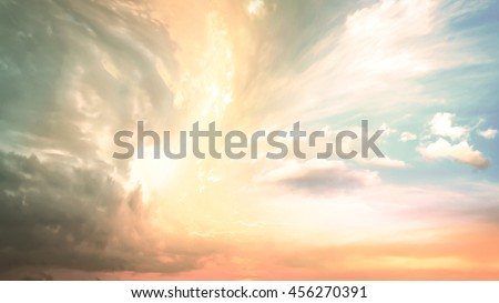 Sky concept. Dawn Soft Pink Blue White Sun Ray Art Sunny Power Freedom Cloud Color Nature Fluffy City Earth Plain Sepia Brown Orange Yellow Pit Cavity Hole Storm Gale Wind Squall Cyclone Whirlwind - stock photo