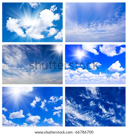 Sky daylight collection. Natural sky composition. Collage - stock photo