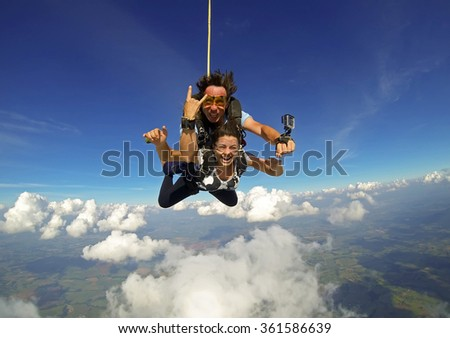 sky diving tandem happiness - stock photo