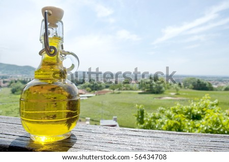 Sky donates a small bottle of italian Olive Oil - stock photo