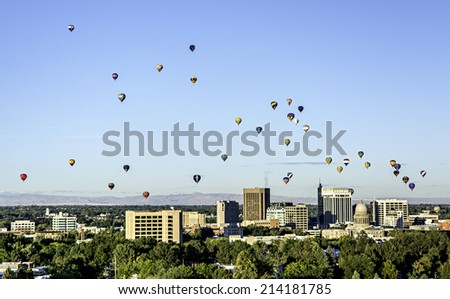 Sky filled with hot air balloons over Boise Idaho - stock photo
