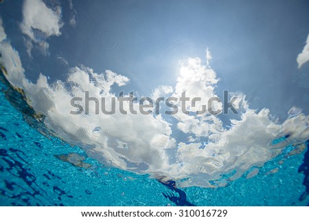 Sky from underwater with space for your text. - stock photo