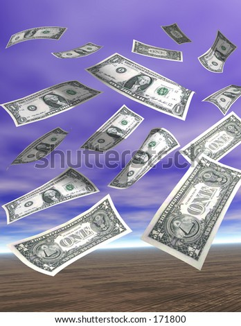 Sky full of dollars - stock photo