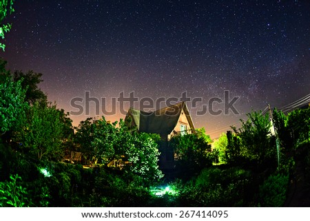 Sky full of stars. Beautiful summer night in Crimea - stock photo