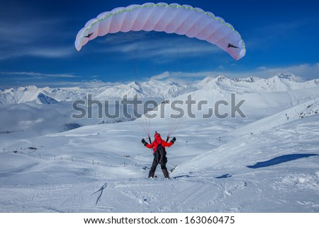 Sky gliding in snowy Caucasus mountains.Georgia, ski resort Gudauri.