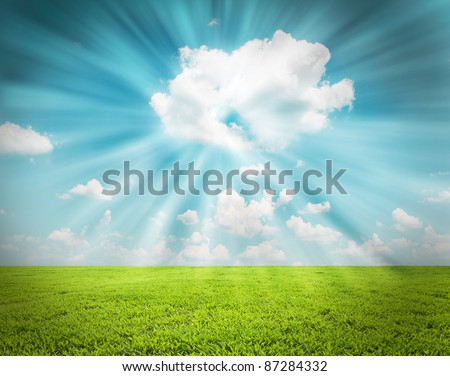 Sky in a blaze of glory and beautiful landscape - stock photo