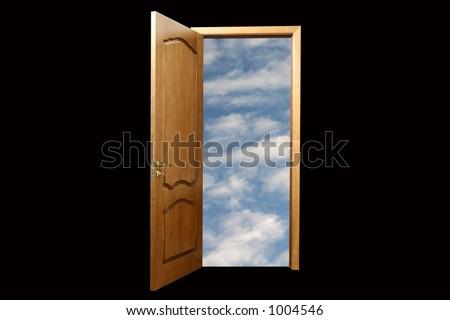 Sky in door. Black background - stock photo