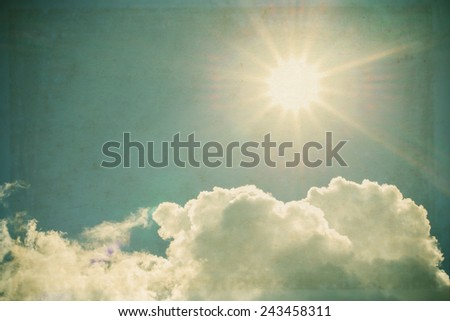 Sky in sunny day with white clouds ,vintage color tone - stock photo