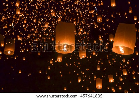 Sky lantern in Lantern Festival.Floating asian lanterns in Chiangmai.balloon fire/ yeepeng in north Thailand