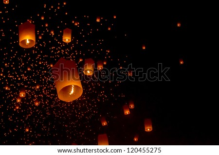 Sky lanterns festival,Thailand, Loy Krathong and Yi Peng Festival - stock photo
