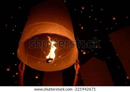 Sky lanterns firework festival,Chiangmai ,Thailand, Loy Krathong and Yi Peng Festival - stock photo