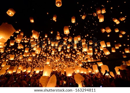 Sky lanterns firework festival, Loy Krathong and Yi Peng Festival in Chiangmai, Thailand