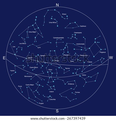 sky map and constellations with titles - stock photo