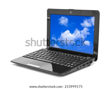 Sky (my photo) on notebook screen isolated on white background - stock photo
