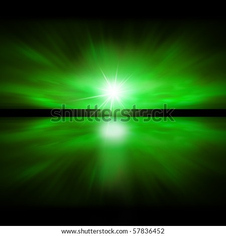 Sky of Green Light - fractal landscape - stock photo
