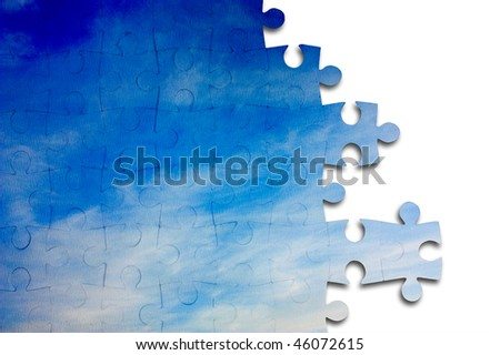Sky of the puzzle on a white background - stock photo