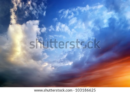 Sky on sunset. Colorful clouds. Nature composition. - stock photo