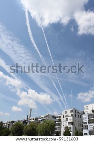 sky over frankfurt - stock photo