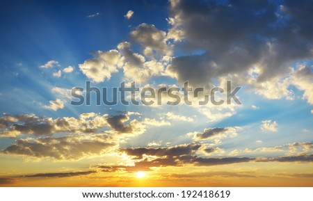 Sky panorama of sunset. Composition of nature. - stock photo